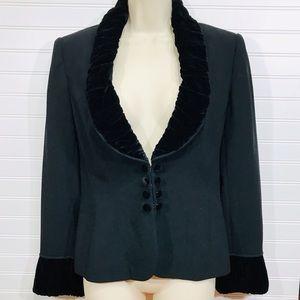 Harold's Black Velvet Trimmed Dress Blazer NWT